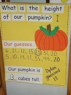 Pumpkin measurement activity for preschoolers - great way to practice estimating too! Smartboard?