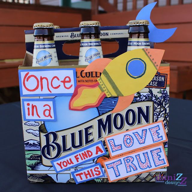 """DIY Decorative Beer Box Gift for him: Blue Moon """"Once in a BLUE MOON you find a love this true"""""""
