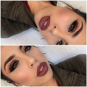 Pinterest : @Lovelyy_Amber97 ❤️ Who knows a lip liner that looks just like this matte burgundy -ish nude lip color