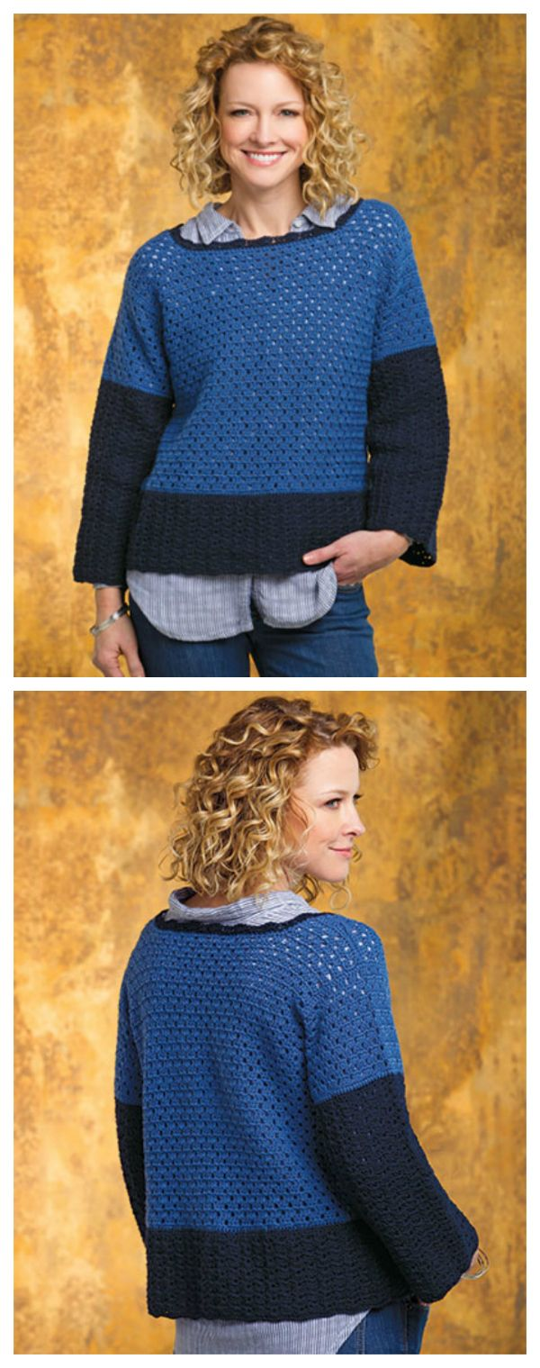 NEW Color-Block Chic Pullover. Great color, fun stitch pattern, easy styling—this color-block pullover has it all! The design is made using sport-weight yarn and size G/6/4mm crochet hook.