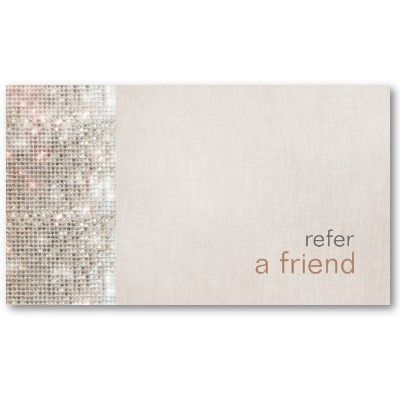 Modern and Hip Sequins Refer A Friend Coupon Salon Business Card Template