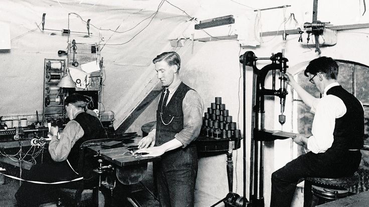 The first Bang & Olufsen workshop in Svend Olufsen's home in Quistrup, Denmark.