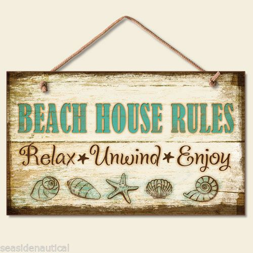 Beach House Rules Decorative Wood Sign Seaside Nautical Home Decor | eBay
