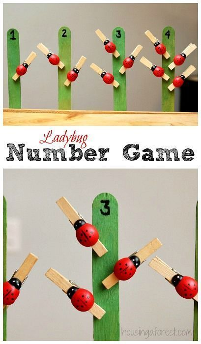 Ladybug Number Game. Pupil uses their pincer grip to open a peg and place the correct amount on a 'tree'. This will develop number recognition and counting skills. You will need lollipops with numbers on and pegs to add to the trees.