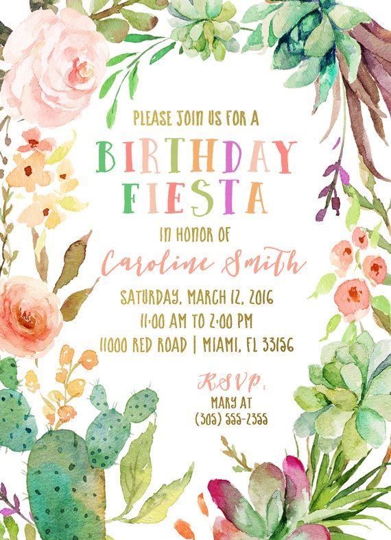 Its someones birthday, and that means its time to fiesta!! This cactus floral invitation is sure to wow your guests and set the perfect tone for your next party! So fun and festive!  Note: Customizable for any age no matter which age is listed!  This listing allows you either: (1) to purchase your invitation as a digital file only; or (2) to purchase as many PRINTED invitations as you need. Simply use the drop-down menu to choose. Both options include a FREE matching back for your invitation,...