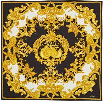 Versace Black Baroque Starfish Silk Scarf