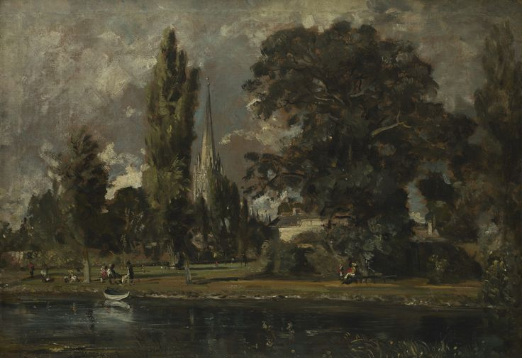 John Constable, Salisbury Cathedral and Leadenhall from the River Avon, 1829