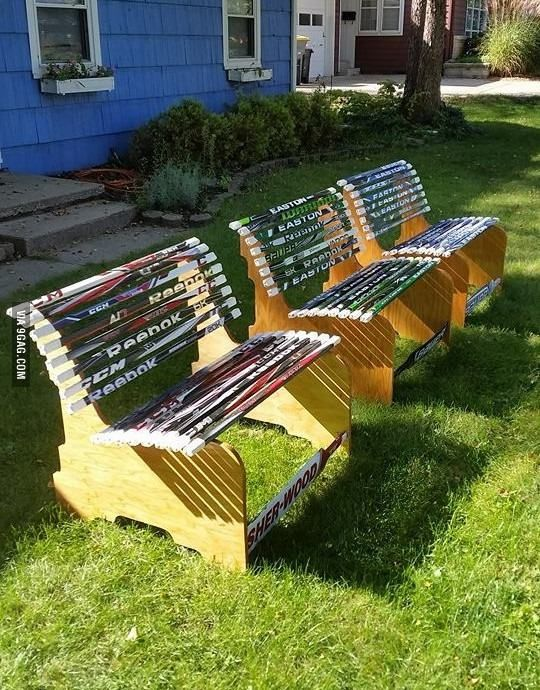My friend makes benches out of hockey sticks!