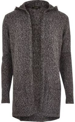 River Island Mens Grey grunge mohair open cardigan