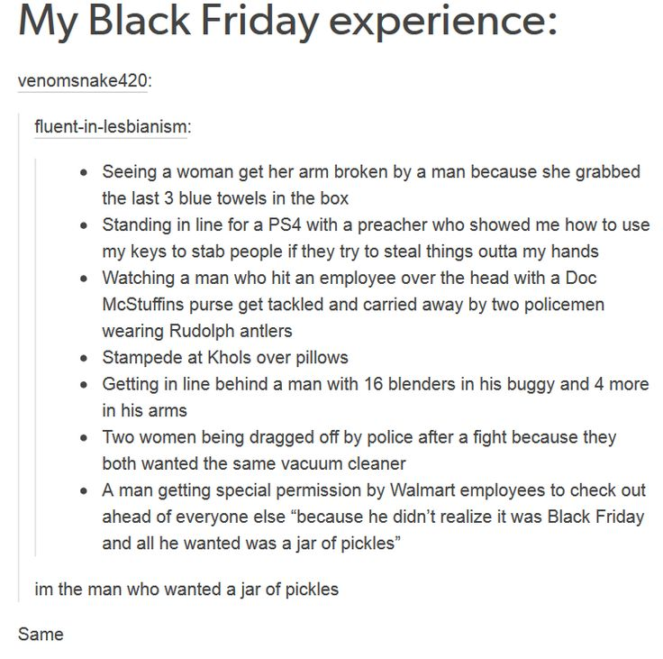 """Black Friday is one of the weirdest things- we have it in England, but it's more of a """"WOW! 15% off everything this week"""" and no one really cares"""