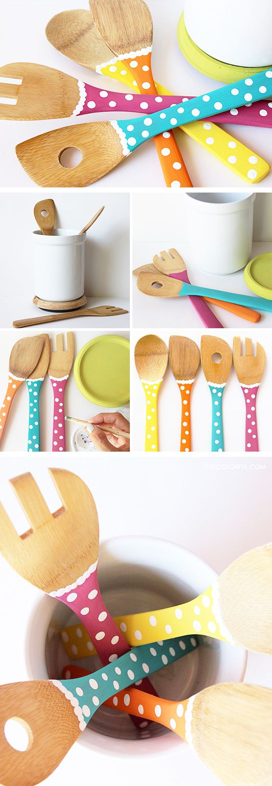 I couldn't resist the temptation to add a little color to my kitchen utensils! Check out this fun and easy DIY project for the kitchen and paint your spoons!