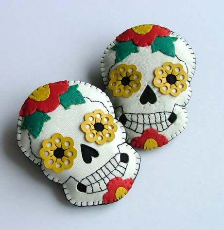 Leather Tattoo Sugar Skull Brooch SALE by TheDollCityRocker  #Dia De Los Muertos #Day of the Dead