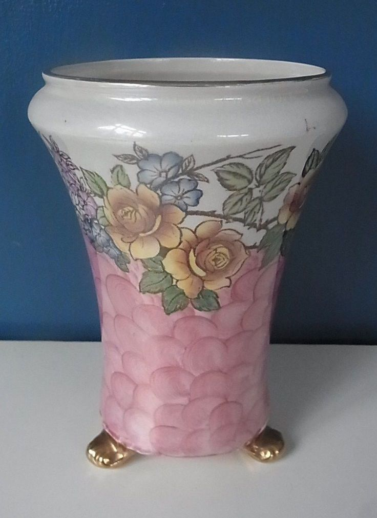 "C T MALING & SONS ""ROSINE"" PINK LUSTRE FLORAL VASE - 3 GILDED FEET - 7.75"" Tall in Pottery, Porcelain & Glass, Pottery, Maling 