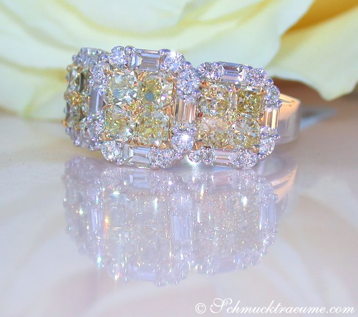 Luxurious yellow & white diamond ring. Juwelier Schmucktraeume.com