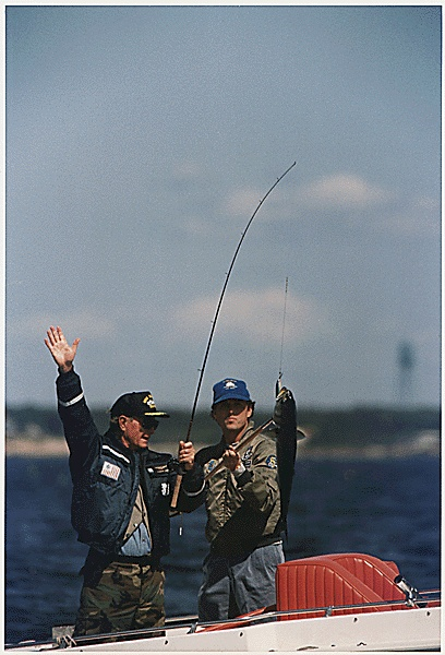 President George HW Bush goes fishing with his son Marvin Bush in Kennebunkport, Maine, 09/03/1989