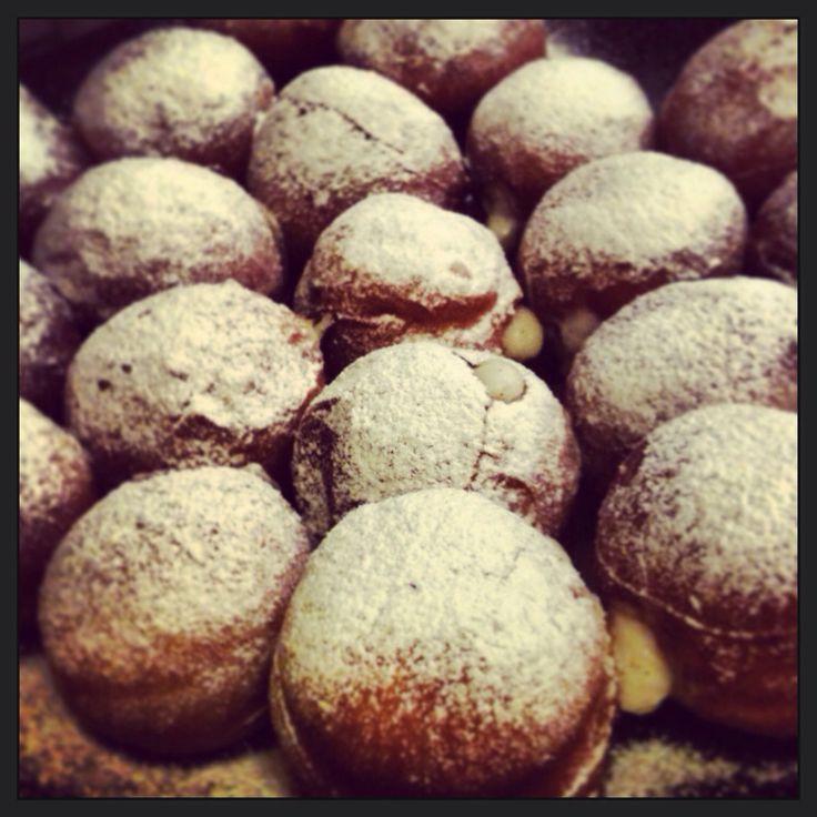 Donuts with custard and mascarpone filling. Instagram.com/martushkacrafts
