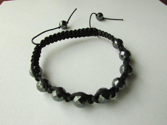 Shamballa bracelet macrame men's women unisex by KnittedWithJoy