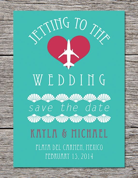 Such a cute destination wedding invitation template!  Looks awesome in her Cancun wedding video