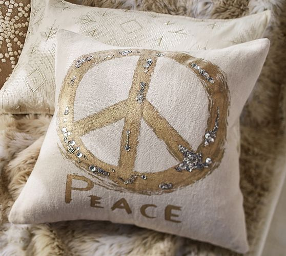Metallic Embroidered Peace Sign Pillow Cover Holiday