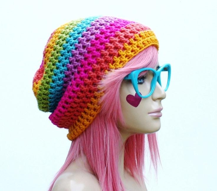 Crochet Slouch Rainbow Beanie