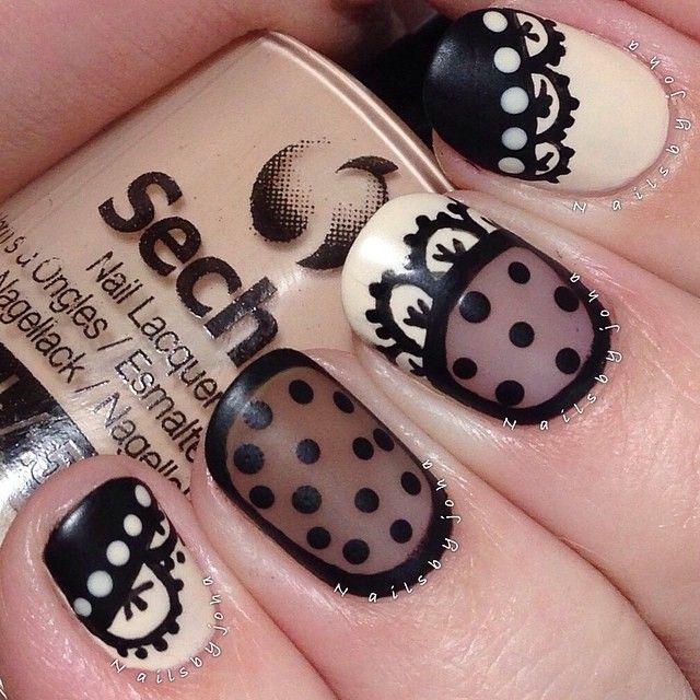 nailsbyjoha #nail #nails #nailart Cream and black negative space with dots