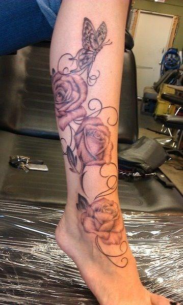 Leg rose tattoos egodesigns.com