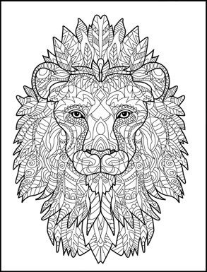 Lion zentangle creative animals coloring book for adults for Lion mandala coloring pages