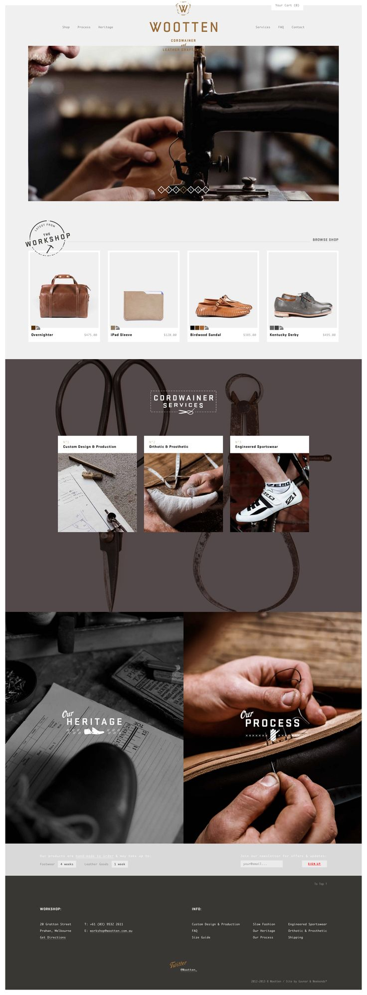 http://wootten.com.au/ |  The color scheme of brown to black in this website ties together nicely that theme of leather and making of high-quality, natural, hand-made goods. Even though they join together pictures, the pictures don't clash because their core color schemes are the same.