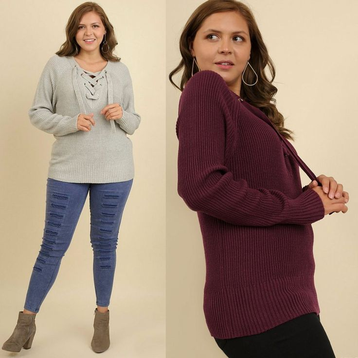 Umgee Plus LACE ME UP Lace Up Long Sleeve Cozy Sweater Mulberry - Grey XL-2X $58 #UMGEE #Tunic