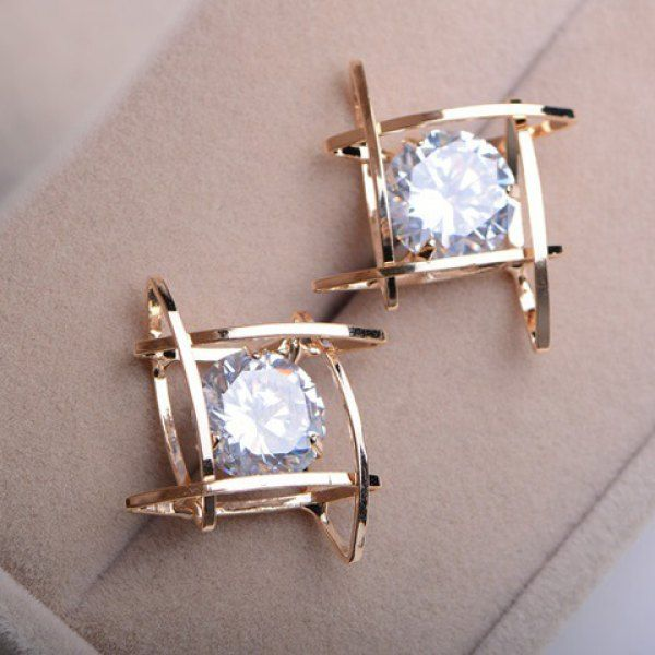 $4.31 Pair of Faux Gemstone Embellished Hollow Earrings For Women