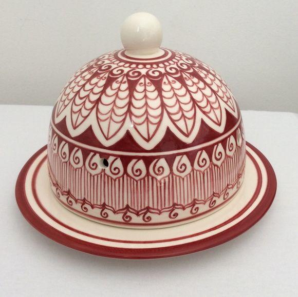 queijeira feita em cerâmica e pintada a mão