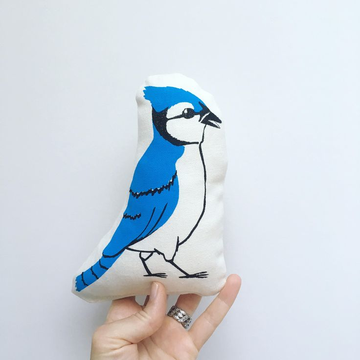 Squawk! Meet our Blue Jay soft toy Made from organic cotton/hemp and hand printed with non toxic inks this Blue Jay stands approximately 8 high All our products are hand printed by us the uniqueness of each piece is the beauty of hand printed product