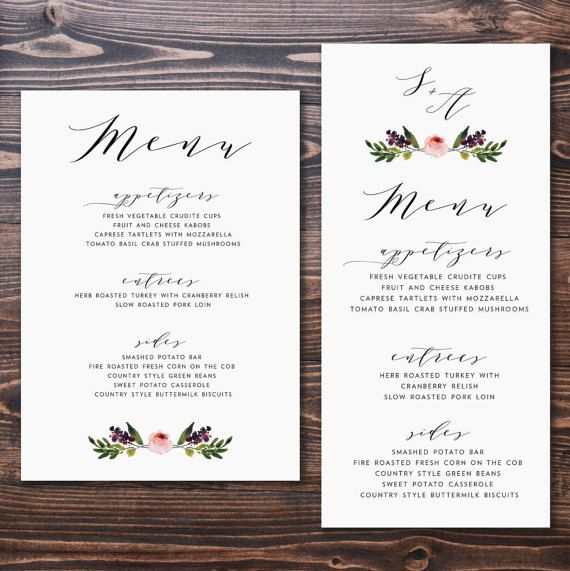 25 best ideas about wedding menu cards on pinterest for Wedding menu cards templates for free