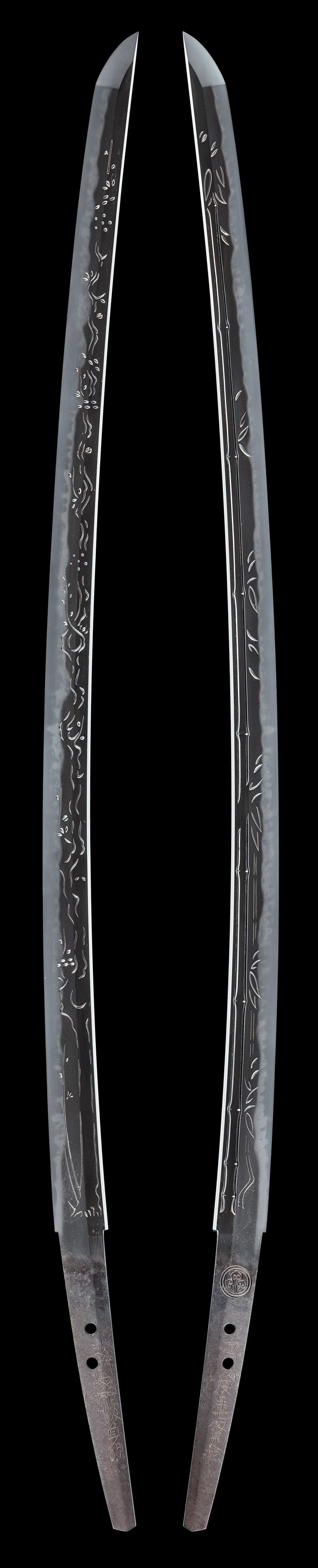 """Full length 'Kinai-Bori' or 'Echizen-Bori' carving on an Echizen katana. It appears to be inscribed with a name: """"Sword of the Last Days."""""""