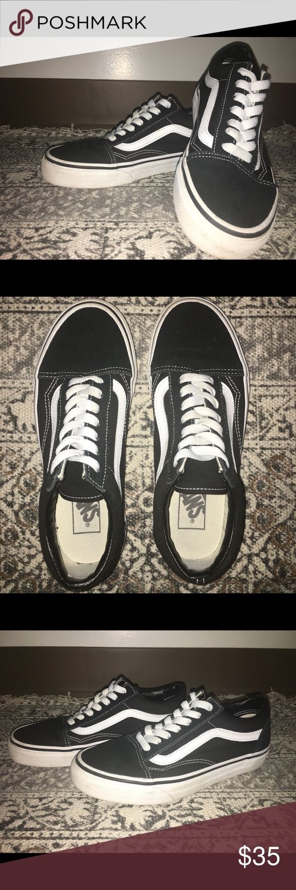 Old Skool Vans black/white (women's size 6.5) Like brand new!!! I've worn these maybe three times, as you can tell from the sole. There's absolutely no scuffs on these shoes. The white part is still very white. They don't smell or anything. Vans Shoes Sneakers