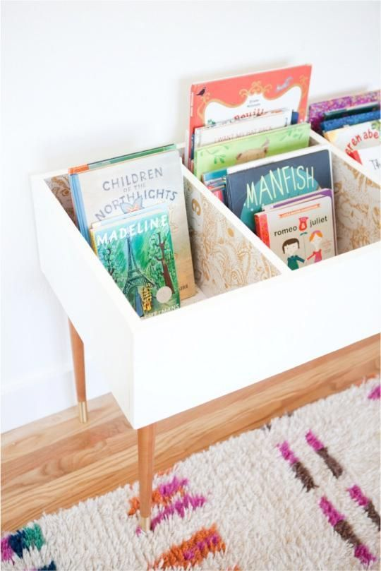 Katie Loves …this functional and fashionable book bin for a kids bedroom or playroom. A set of mid century modern table legs and beautiful wallpaper make this version stand out. Make your own with the tutorial from This Little Street. Photo: This Little Stree