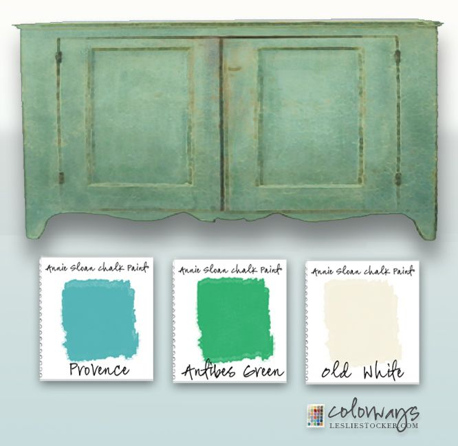 Colorways with Leslie Stocker » Pine Sideboard. Annie Sloan Chalk Paint.®  Antibes Green. Provence. Old White