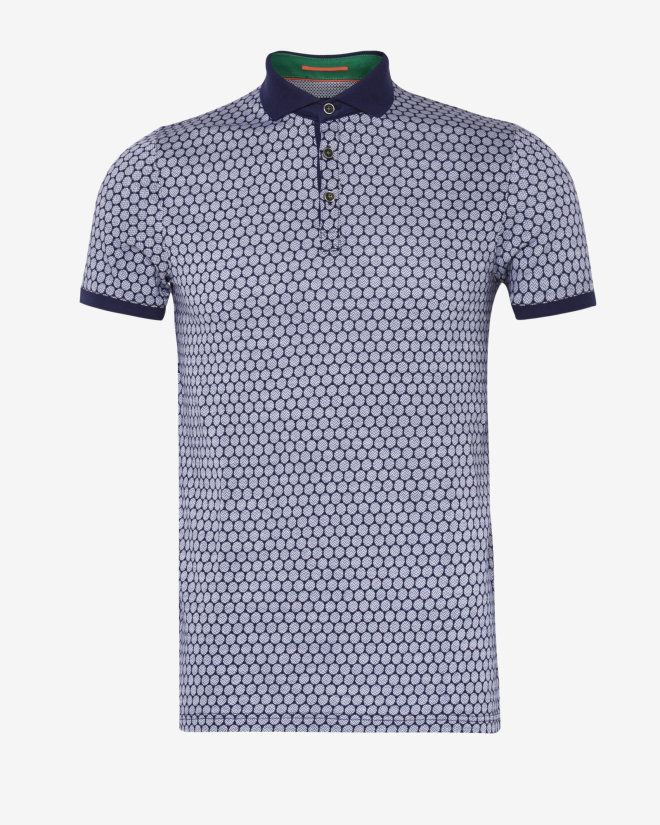 Spot print polo shirt - Navy | Tops & T-shirts | Ted Baker