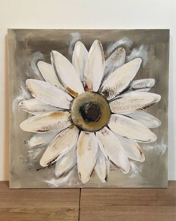 Original daisy painting. This painting is 19x19 square, on a hardboard wood panel with wood supports on the back and painted sides. The surface of this painting is highly distressed, with spots of thick paint, and lots of texture. The daisy is painted in shades of white with slight golden accents. The background is a rustic beige, as are the sides of this painting. This item is handcrafted from start to finish. I have included several front, back, and side photos so that you can see it all…