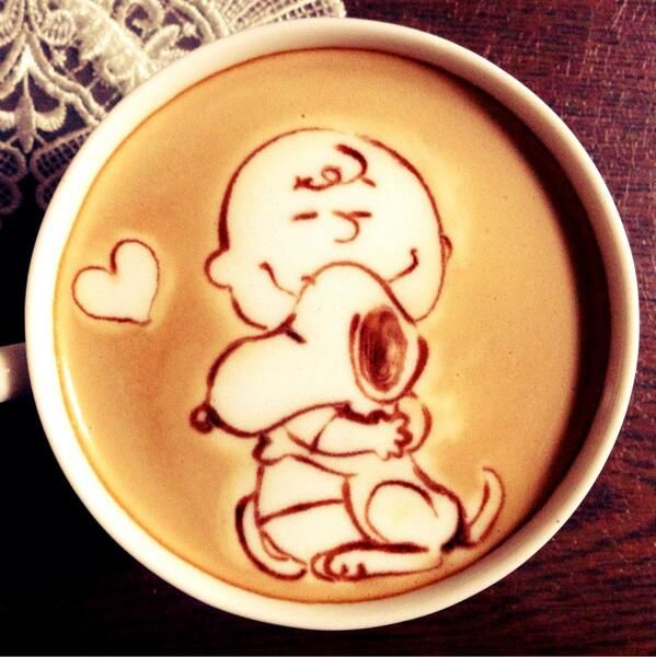 Charlie Brown and Snoopy latte art!  Cool, but don't drink it...if you did...you'd be drinking Charlie Brown and Snoopy. :(