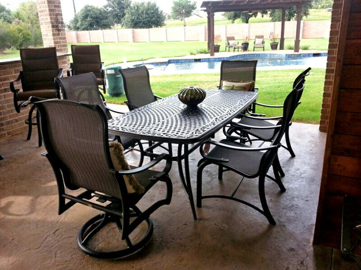Agio Vista 42 x 84 dining table and Mallin's Passage sling dining chairs - patio  furniture - outdoor dining | Enjoy Your Outdoor Room | Pinterest | Outdoor,  ... - Agio Vista 42 X 84 Dining Table And Mallin's Passage Sling Dining