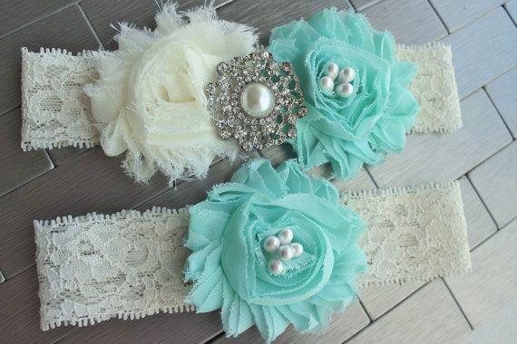 Something Blue, Spa Blue Wedding Garder, Spa Blue, Tifany Blue Wedding Garter  .♥. DESCRIPTION .♥.  Handmade Keepsake Garter - An Ivory lace