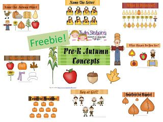 Twin Sisters Speech & Language Therapy: Free Autumn Themed Pre-K Concept Packet!!