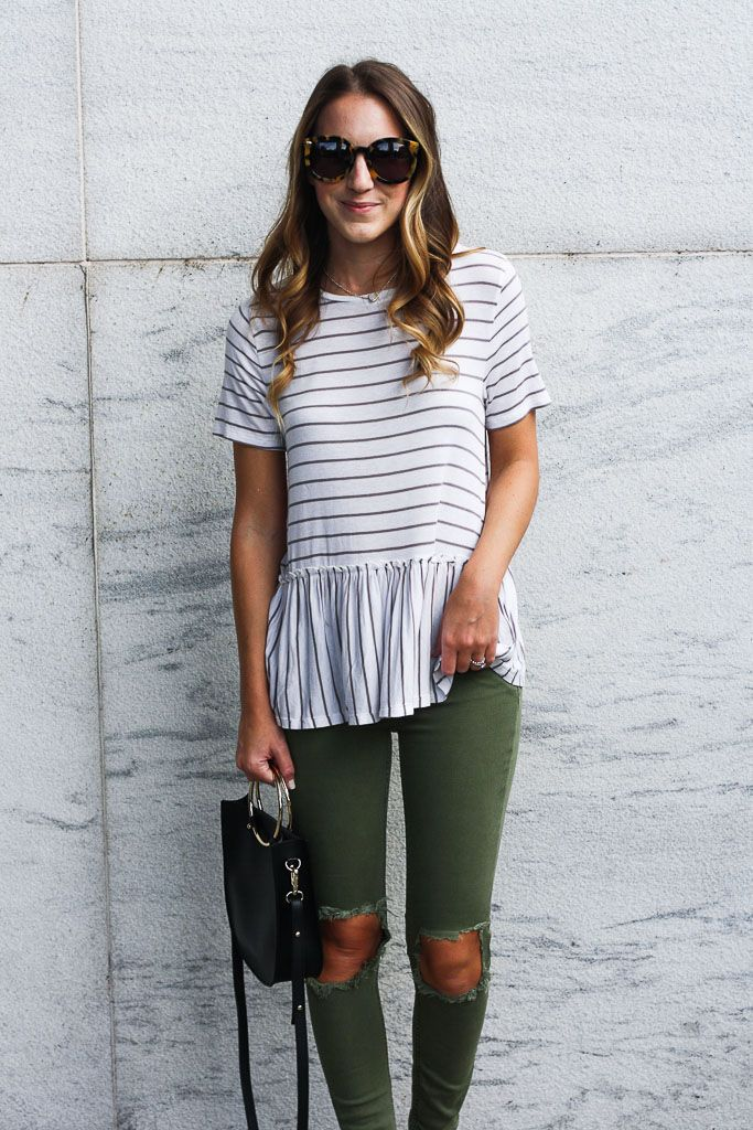 Olive Denim - Twenties Girl Style Distressed Olive Skinny Jeans // Striped Peplum Top // Madewell Denim Jacket