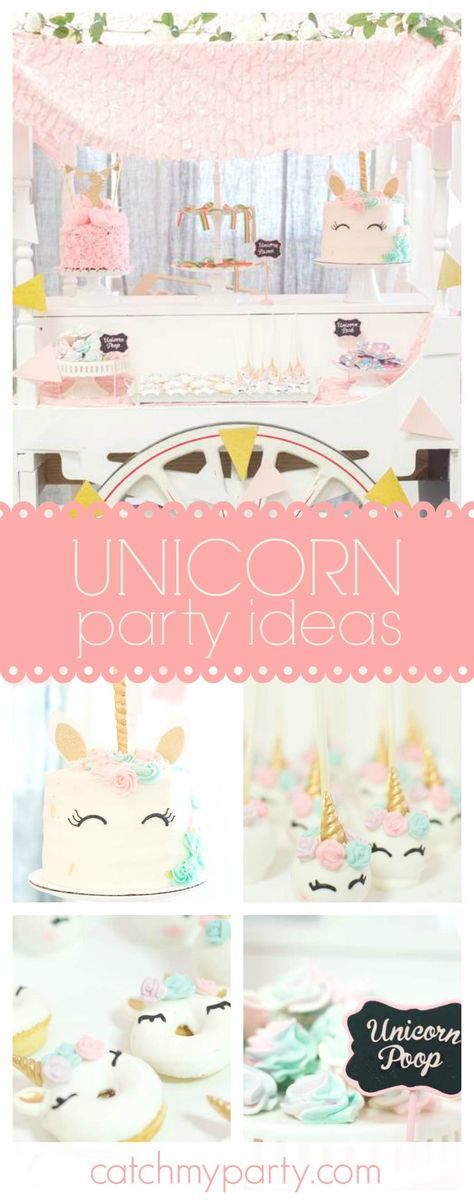 Don't miss this fabulous Unicorn Birthday party! The unicorn donuts are stunning!! See more party ideas and share yours at CatchMyParty.com