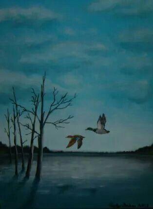 Mallard Lake painting by Ricky Baker @ http://www.facebook.com/artbyrickylynnbaker #duck #painting