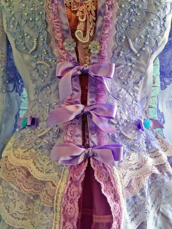lavender lilac & white  Marie Antoinette beaded lace jacket by mermaid miss k