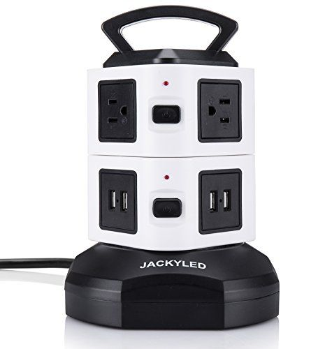 Power Strip Tower-JACKYLED Surge Protector Electric Charging Station 3000W 13A 16AWG 6 Outlet Plugs with 4 USB Slot 6ft Cord Wire Extension Universal Charging Station Office. MAX WATTAGE: Due to various voltages in various territories, this item is intended to help 110V-250V. In the event that it is utilized under, best offer