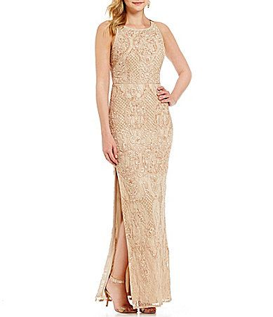 Aidan Mattox Beaded Lace Column Gown #Dillards