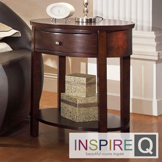 Inspire Q Neo Oval Espresso Accent Table Nightstand